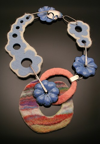 Neck piece made of silver, felted wool, and enameled steel. Contemporary jewelry, Felted wool jewelry, Mixed Media Jewelry.