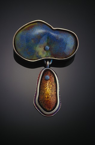 silver and enameled brooch