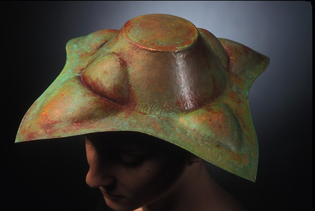 copper, hollow formed hat, metal hat