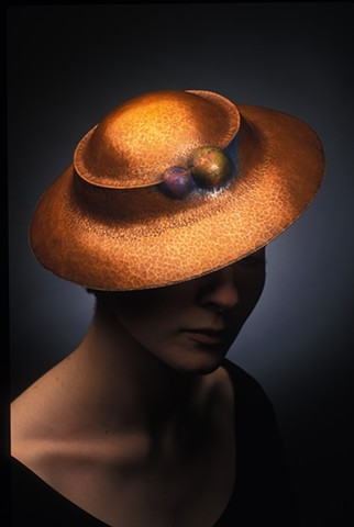 copper, hollow formed hat. Metals hat