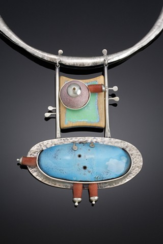 silver and enameled necklace