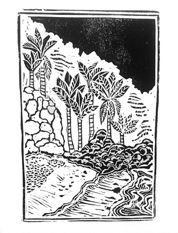 Linoleum Block Print on Paper