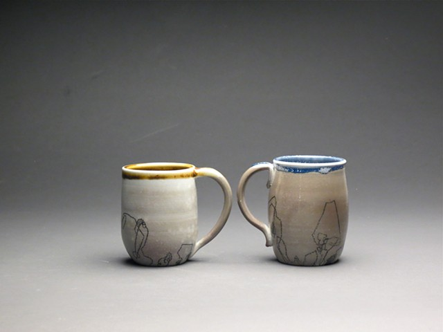 Soda fired mugs