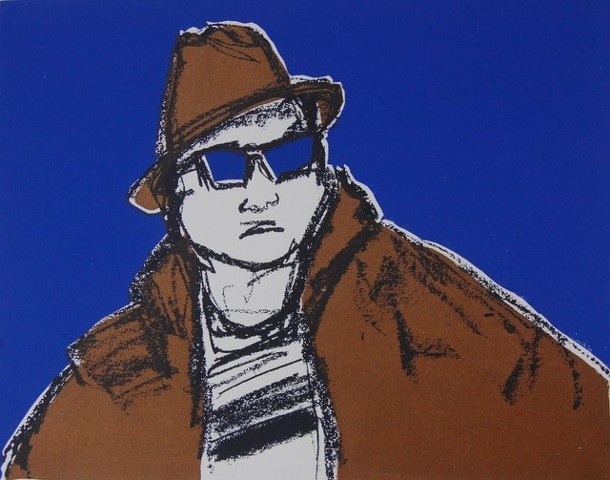 Arno in Sunglasses (purple), 2012; Silkscreen with stencils, framed