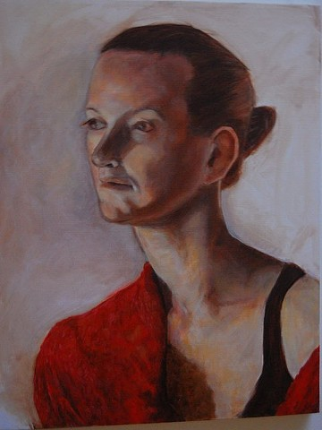 Portrait in a red shawl, 2012; Oil on canvas (unframed)