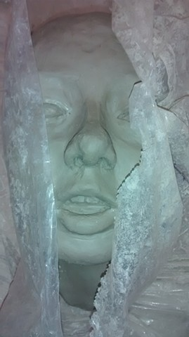 Ceramic sculpture, stoneware; head and face