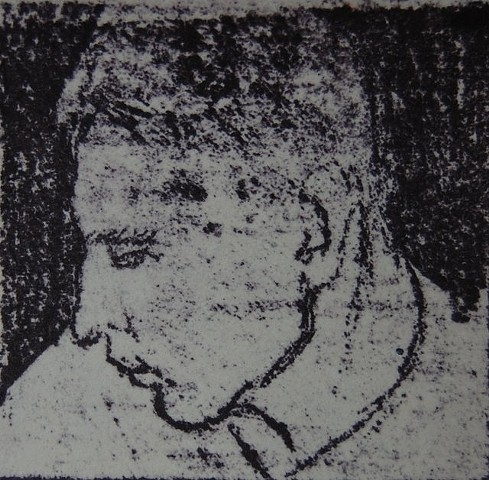 Matthew turns away, 2014; Gum Arabic Print from graphite drawing