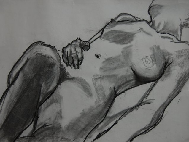 Relaxed nude, female, 2012; Charcoal on paper