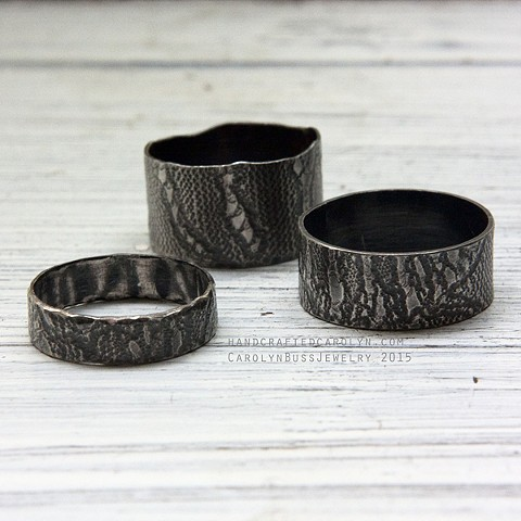 Lace Print Rings, Sterling Silver, 2015, $48 each