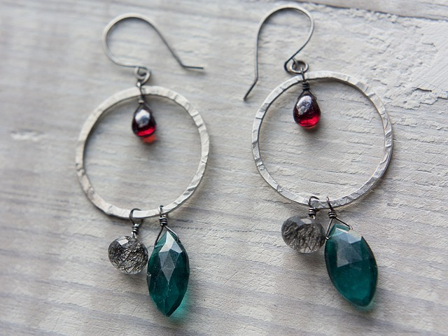 Hammered Hoops with Tourmalinated Quartz, Garnet, Hydroquartz (Sold)