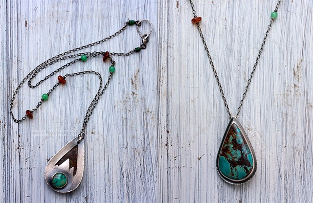 Hidden Mountain Lake Necklace in Sterling with Double Turquoise