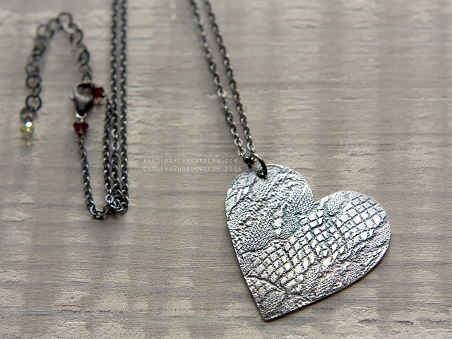 lace print heart necklace valentine's day present women's jewelry 18 inch necklace sterling silver
