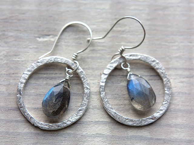 Hammered Hoops with Labradorite