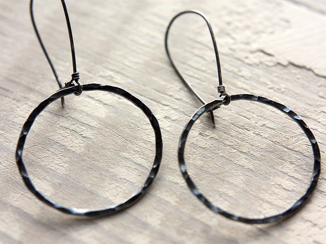 "HAMMERED - Single 1.5"" Hammered Fine Silver Hoops, Oxidised"