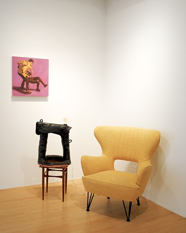 "installation image, ""rather"" with a painting by Jared Weiss"