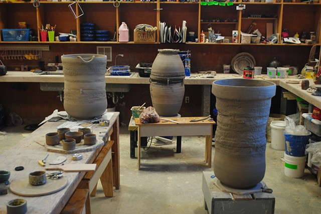 Works in progress in the North Carolina Pottery Center studio building. These large works  are built on the wheel alternating between throwing coils and handbuilding with coils
