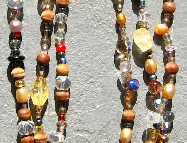 Detail, Citrine and garnet double wrap necklace