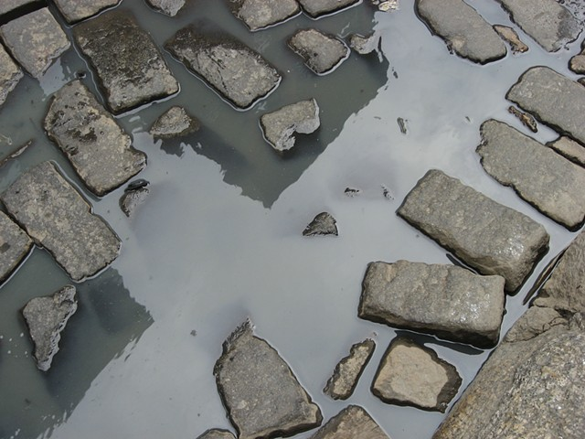 Cobblestones, reflection