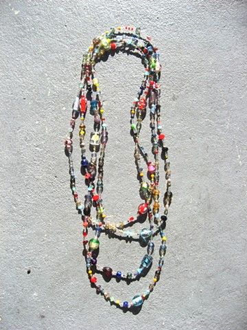 Floral themed multi-colored wrap necklace