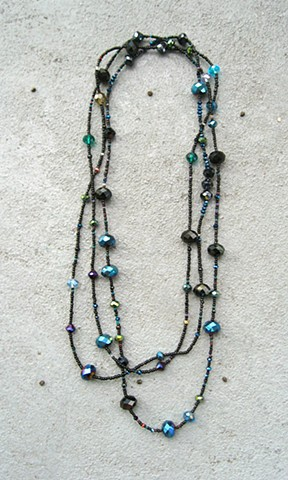 Black iridescent wrap necklace