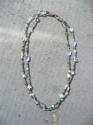 Blue Flash double wrap necklace