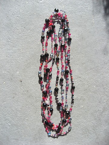 Black & magenta multiple wrap necklace