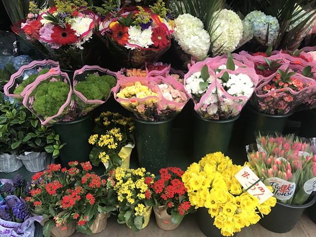 Deli flowers in plastic