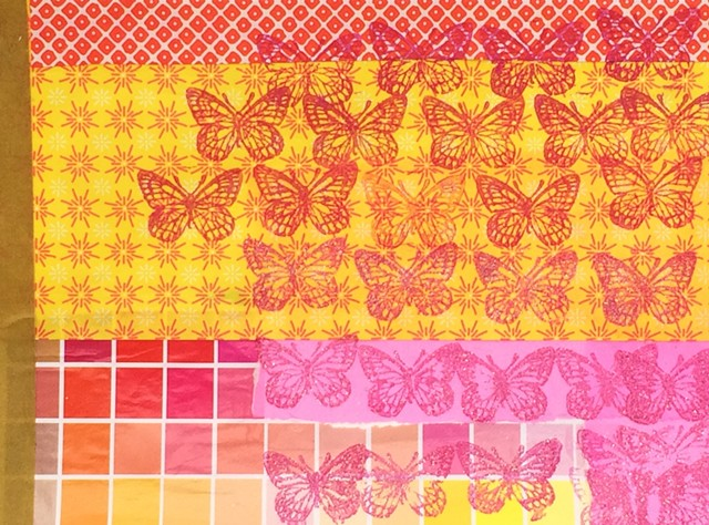 Butterflies, yellow and pink