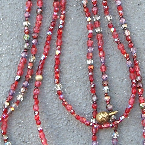 Detail, Ruby hue & brass necklace
