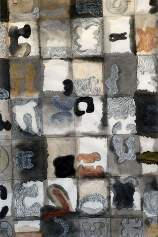 Mixed media drawing with Sumi ink on handmade paper, based on a fictitious alphabet by Carmi Weingrod