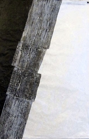 Graphite and crayon rubbing with Sumi ink on handmade paper by Carmi Weingrod