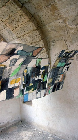 Mixed-media drawing made in Cappadocia, Turkey then hung and photographed in a ruin by Carmi Weingrod