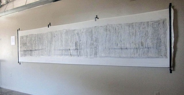 Graphite rubbing on silk of wooden bridge deck by Carmi Weingrod