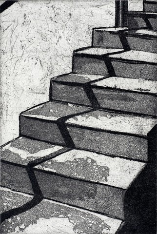 Sugarlift aquatint. Title inspired by Duchamp's %Nude Descending a Staircase% by Carmi Weingrod