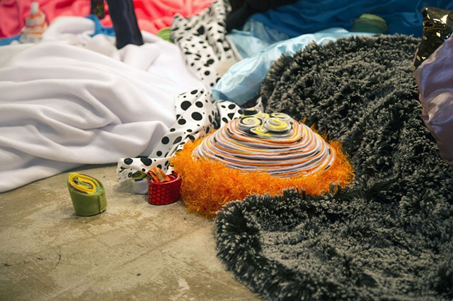 Sages, fabric installation art, satin playland