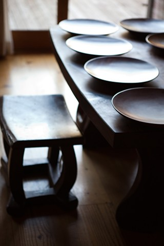 Madrone Plate Set on Redwood Table with Redwood Stool (Paige Green photo)