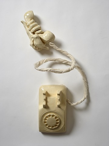 rotary phone, ceramic, mixed media, white ceramic, bird