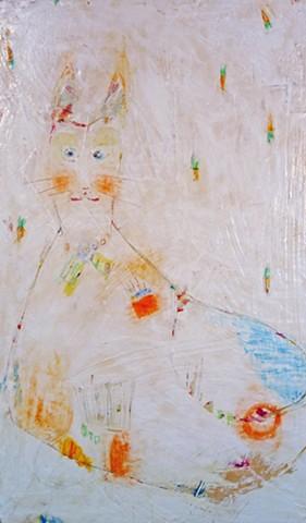 BunnyCat painting. Watercolor fresco. o*Live. o-Live. oliveland