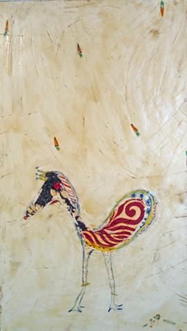 PonyBird. Painting of horse. bird painting. watercolor fresco. o*Live. o-Live. olivelandart