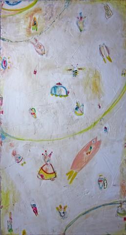Spheres of Influence. Abstract painting. Watercolor fresco. o*Live. o-Live. oliveland @olivelandart