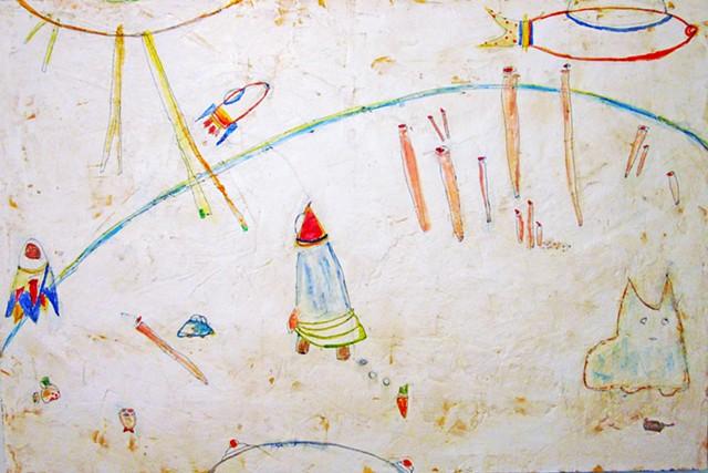 Space Nomad. Sci-fi painting. Space cat. watercolor fresco. o*Live. o-Live. olivelandart