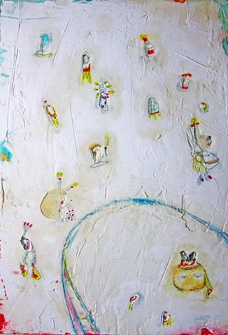 X-Ray Specs,Sea Monkeys and Hovercrafts. Watercolor fresco. o*Live. o-Live. oliveland
