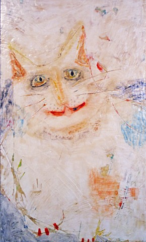 CatMan. Painting of Cat. watercolor fresco. o*Live.o-Live. oliveland