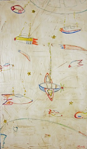 Space Coaster. Sci-fi painting of space ships and rockets. NASA. watercolor fresco. o*Live art