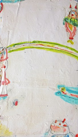 1960'sdoll.watercolor fresco. abstract painting on plaster. o*Live. o-Liveland