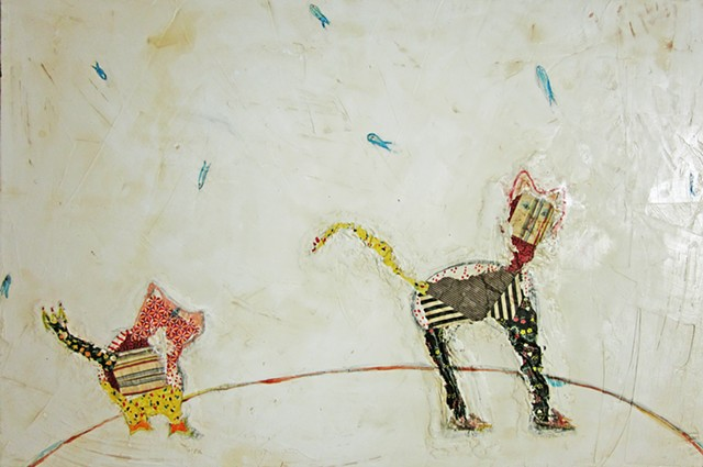 Follow-painting-pig-cat-watercolor fresco-o*Live-oliveland