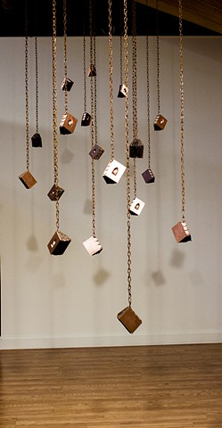 Hanging book installation