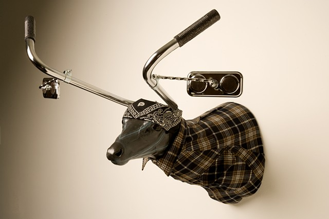 low rider bicycle chrome handle bar deer with mirrors shirt bandana oil paint sculpture.
