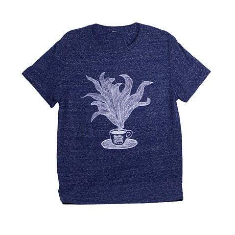 Blue T-shirt with Coffee Illustration - Java House