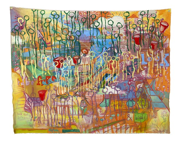 "This painting was made as a response to concert ""Songs of Our City"", featuring pianist Julia Carey and vocalist Kelley Hollis, which can be viewed here: https://www.youtube.com/watch?v=tMCWQGiAbhs"